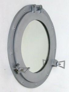 "Ship's Cabin Porthole Mirror 17"" Aluminum Finish Round Nautical Wall Decor New"