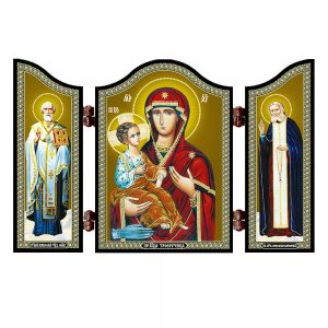 1405 GM. Three handed christian icon Troeruchica travel altar gift