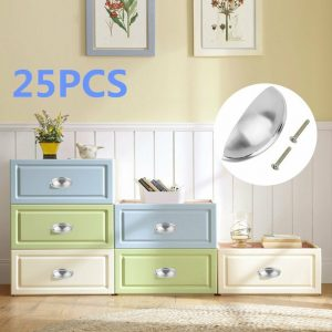25 PACK Cabinet Pull Drawer Handle Knob Kitchen Hardware Zinc Alloy Silver BP