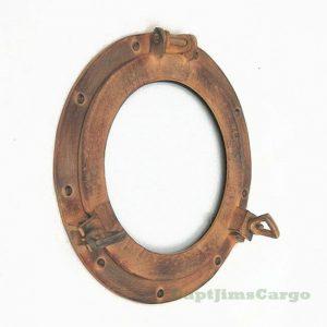 """Ship's Porthole Glass Window 11.5"""" Aluminum Orange Rust Finish Nautical Decor"""