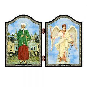 1413 Xenia of St. Petesburg & Guardian Angel Icon Ksenija Peterburgskaja i Angel