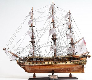 "USS Constitution Old Ironsides Wooden Tall Ship Model 29"" Handbuilt T097"