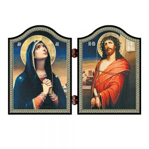 1402 Deva Maria & Jesus wood diptych Skorbjashhaja Bogorodica i Spasitel icon