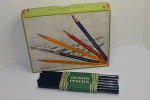 VINTAGE 1930s BOX OF DIXON 810 BLUECHECK BLUE PENCILS! UNUSED! 4 DOZ! GRAPHICS!