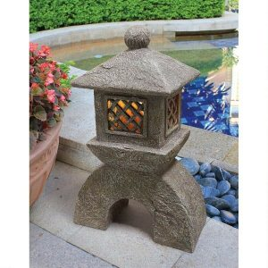 Asian pagoda Japanese Lighted Lantern Oriental Zen Garden Sculpture Decor