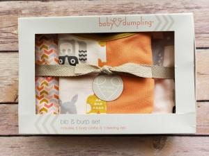Baby Dumpling Dear One Bib and Burp Cloths Gift Set Orange Forest Animals New