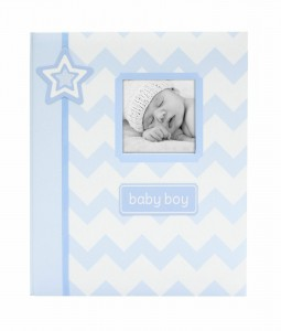 Baby Record/ Memory Book by L'il Peach Chevron- Colors avail Blue, Grey or Pink