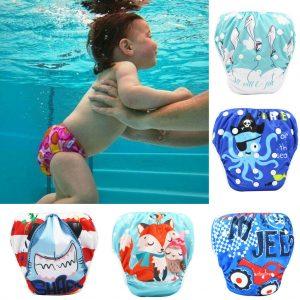 Toddler Baby Boy Girl Kids Reuseable Adjustable Swim Diapers Cartoon Swimwear ED