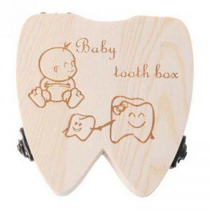 Baby Tooth Box Wooden Milk Teeth Organizer Storage Girls Save Souvenir Case G8L7